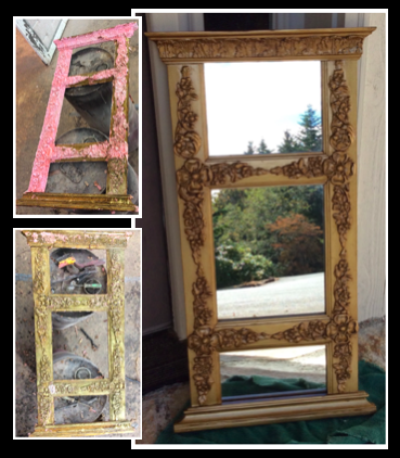 This 100+ year old mirror frame was a family heirloom when a helpful friend painted it pink. It was discovered on a pile of trash and the signature of the maker and date was noticed. The large photo was the original color, which we restored it to.