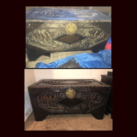 This camphor chest was a family heirloom that was subjected to water and steam when the water heater burst. The damage was extensive with warps, splits, mold and breaks but we were able to restore it. The owner is delighted and wrote a review for our testimonial page.