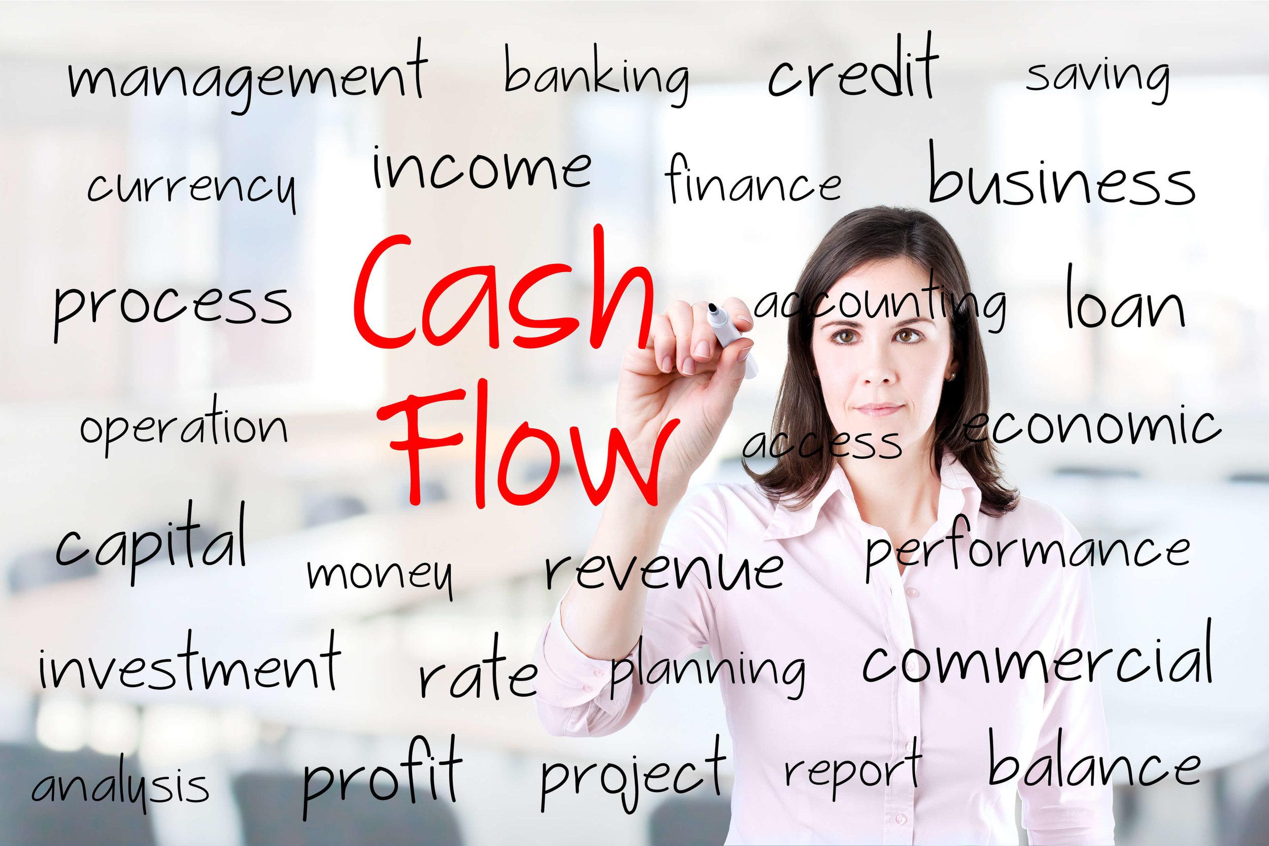 cash flow image women writing on whiteboard