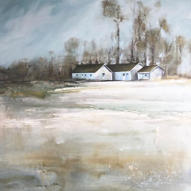 This 40x40 commission is for a friend and client wanting a reminder of the farm she grew up on. Meaningful places or memories can make the best landscapes. 😊😊#commissionedart #acrylicpainting #modernfarmhouse