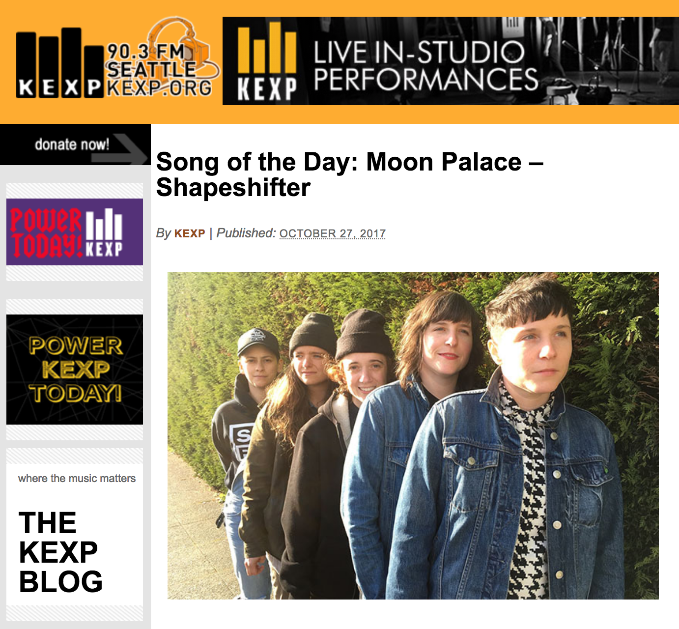 KEXP Song of the day!!  Read more