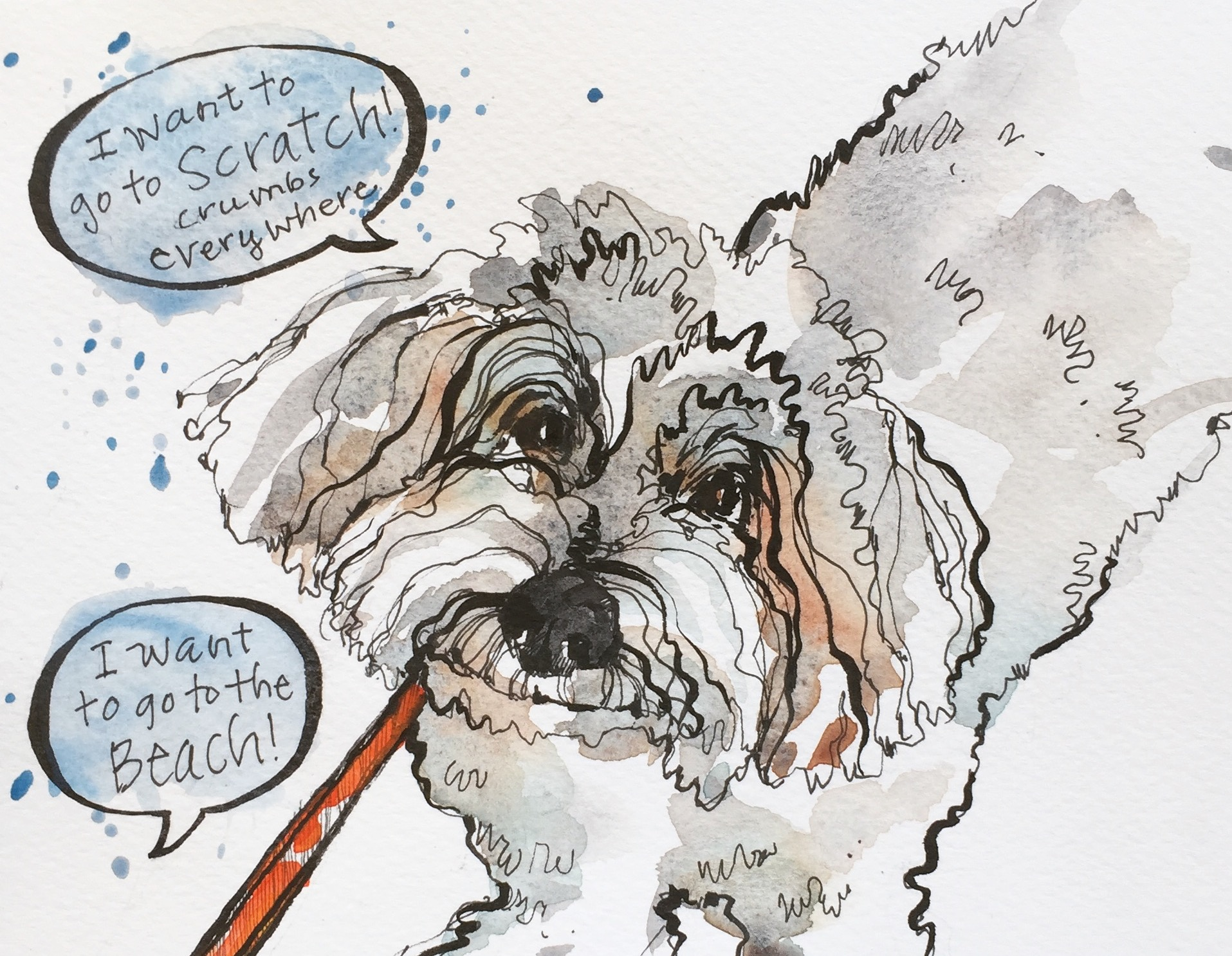 """It is embarrassing as I drag all of Sophie's 13 lbs straining on her leash with little claws gripping onto the bricks to find that one tasty dropped morsel. The wonderful Scratch Bakery is a dog owners nemesis. Once I watched a guy have to pick up his 90 lb chocolate lab and carry the dog away from the """"crumb-fest"""". #sketchbook #penandink #watercolor #illustration #instadraw #instaart #bakery #willardbeach #maine #ilovemydog"""