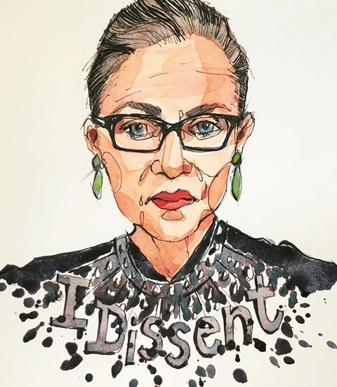 """RBG"" —A great movie about the exceptional life and career of Supreme Court Justice Ruth Bader Ginsburg. At 84 she is still going strong...she's a rockstar!!!  #rbg #ruthbaderginsburg #notoriousrbg #sketch #sketching #sketchbook #sketchoftheday #penandink #watercolor #portrait #draw #drawing  #drawingoftheday #instaart #instadraw #instaartist #instaportrait #illustration #illustrator"