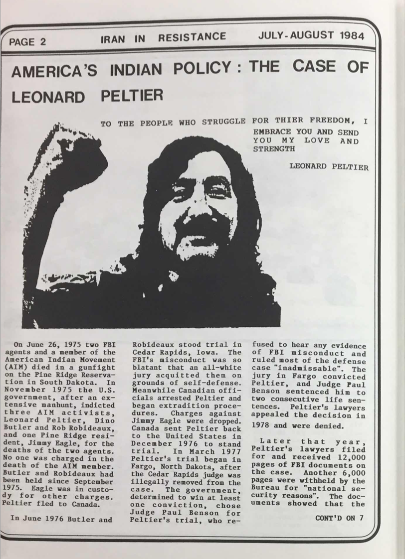 America's Indian Policy: The Case of Leonard Peltier, July–August 1984, Iran Political Opposition Literature collection, Box 21, Folder 4, Hoover Institution Archives.