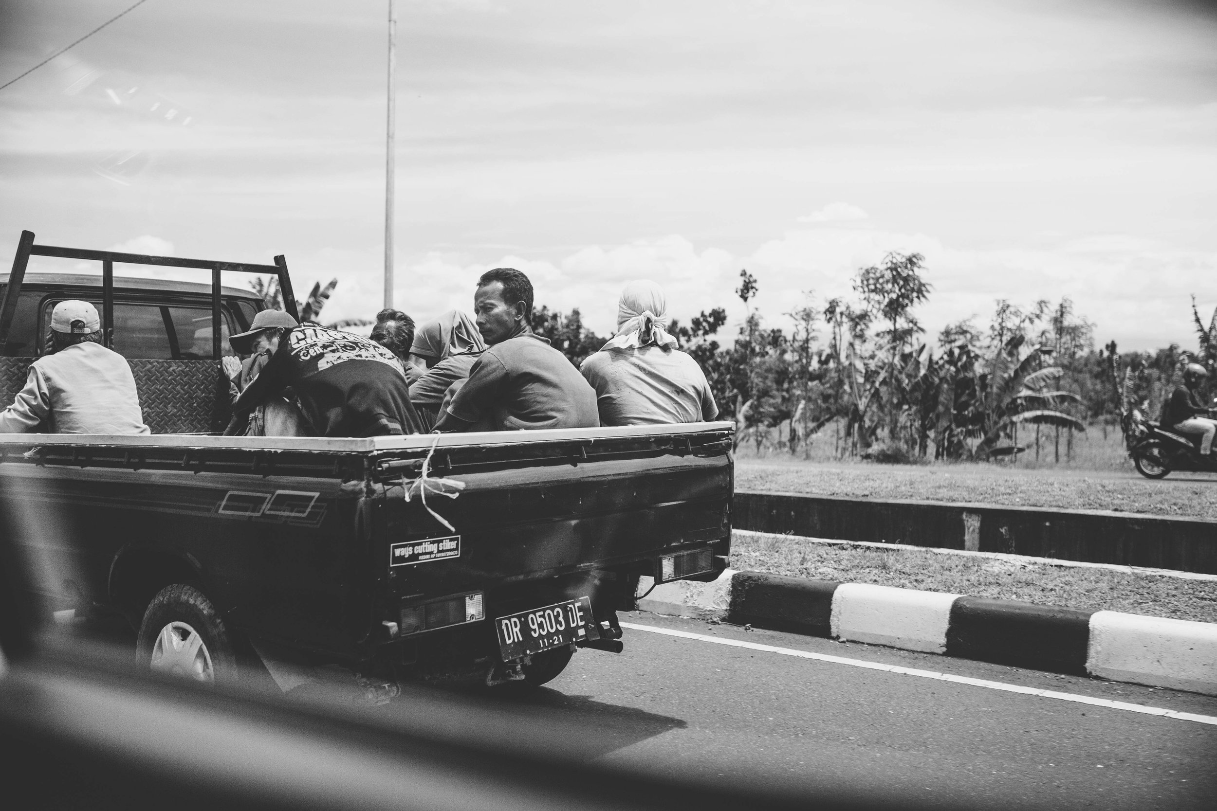 back of the truck in Bali