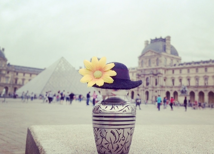 "Paris, France: The Louvre  Outfit: The hat may or may not have been ""borrowed""  from a doll shop"