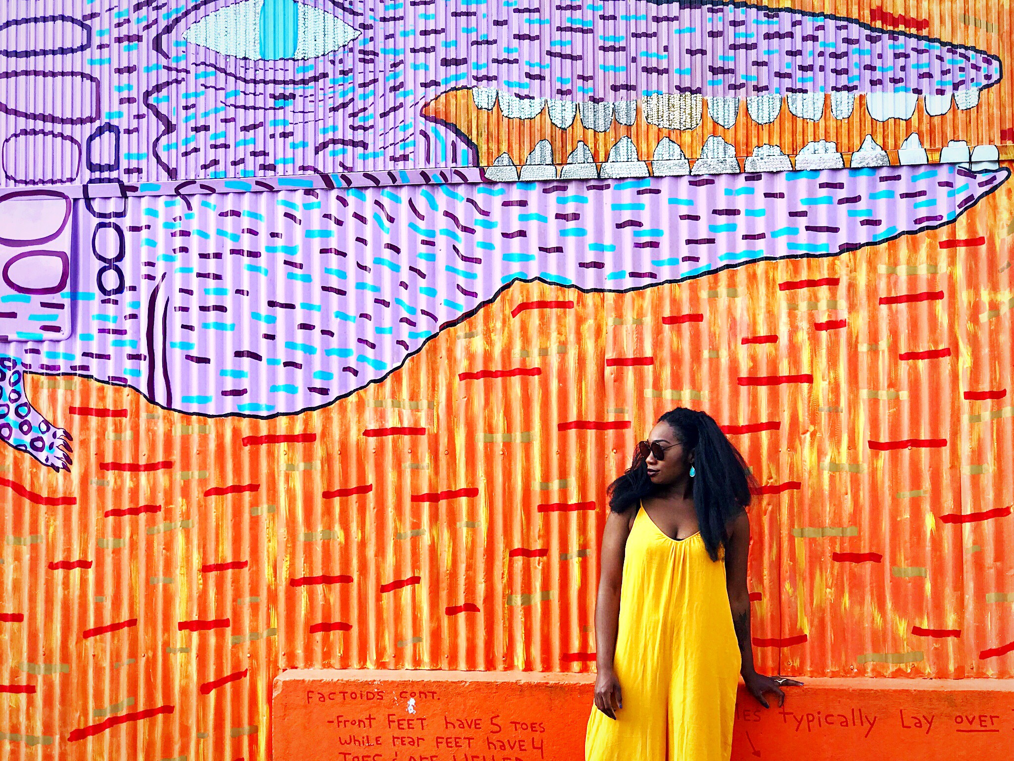 Image: Femi wearing bright yellow jumper, turquoise earrings, dark red lipstick in New Orleans.