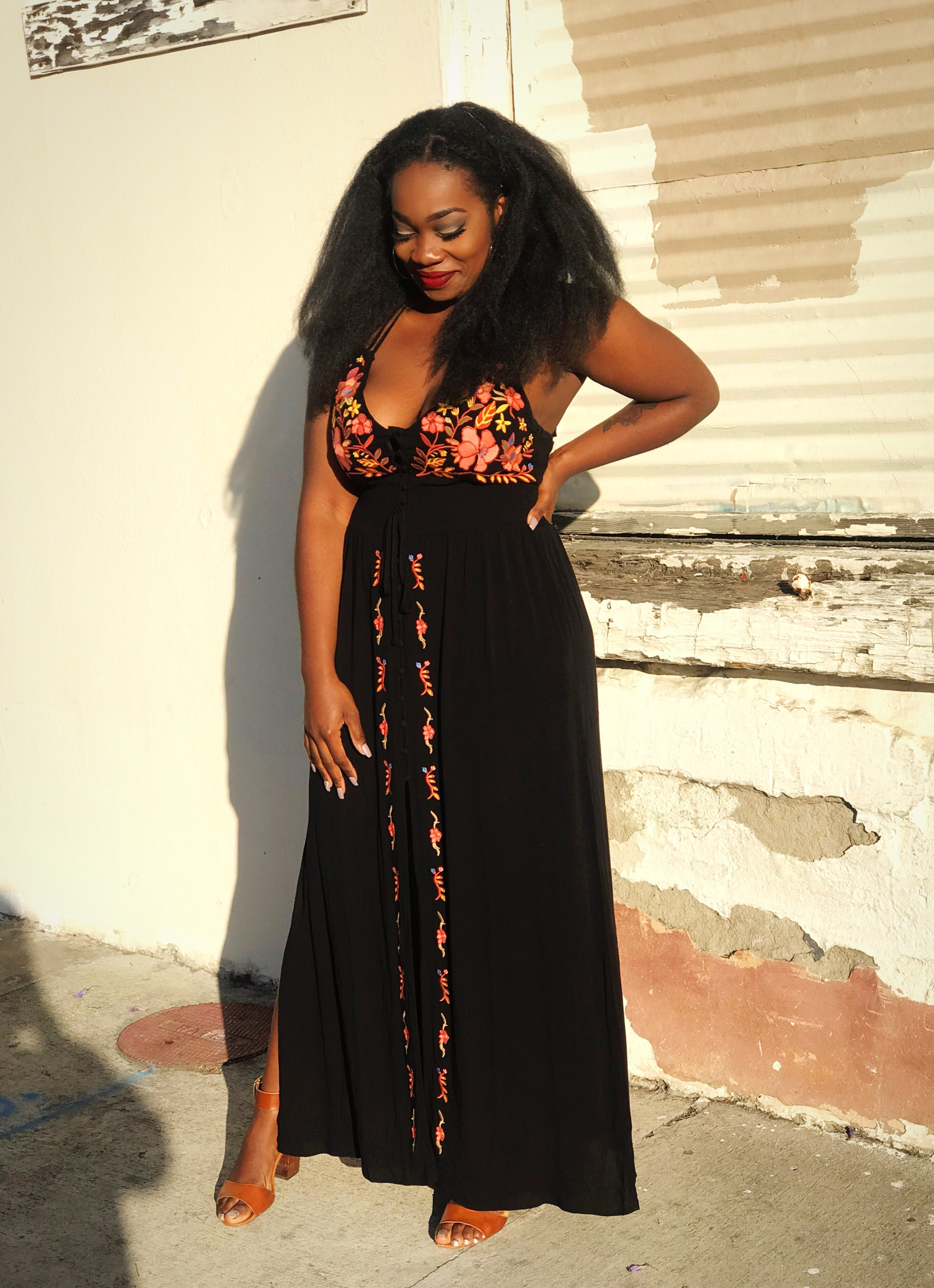 Image: Femi wearing embroidered Forever 21 Dress at Herb & Wood in Little Italy