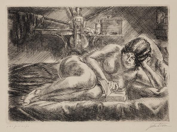 """John Sloan (1871-1951),  Nude Reading , 1928, etching, 5"""" x 7"""" (plate), Gift of Bernard F. Walker, Detroit Institute of Art"""