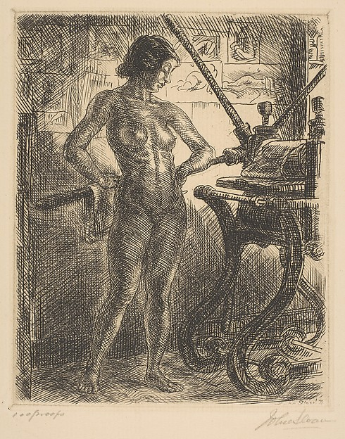 "John Sloan (1871-1951),  Nude and Etching Press , etching, 1931, plate: 4 15/16"" × 3 15/16"" sheet: 12 11/16"" × 9 5/8"", Gift of Ernest Shapiro and Family 1995, Metropolitan Museum of Art, New York"