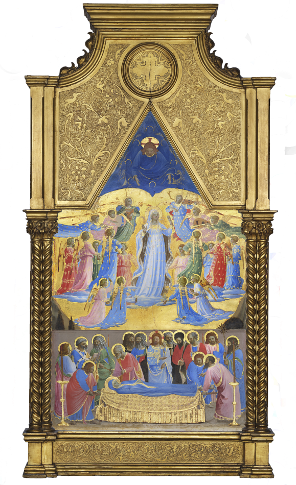 "Fra Angelico (c. 1395 - 1455),  Dormition and Assumption of the Virgin , tempera with oil glazes and gold on panel, 1424-1434, 24 5/16""x15 1/16"", Collection of the Isabella Stewart Gardner Museum, Boston, MA"