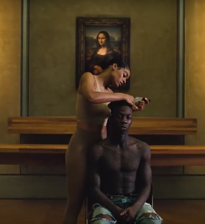 A detail from The Carters'  Apeshit  music video directed by Ricky Saiz, 2018