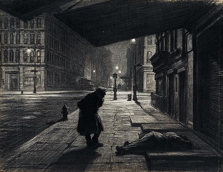 "Martin Lewis,  New York Nocturne , charcoal on paper, 12.75"" x 16.88"", c. 1930, signed Sold for $47,500 at Swann Galleries (Estimate: $10,000 - $15,000)  Sale date: March 13, 2018, Lot #166"