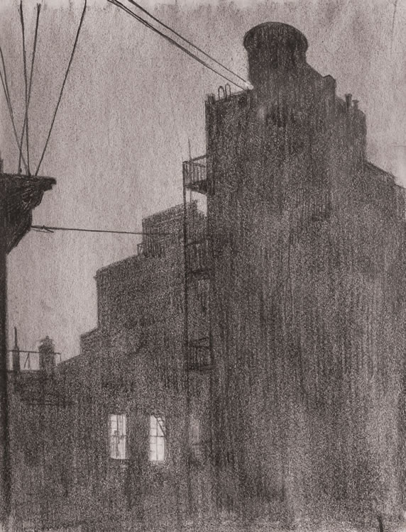 "Martin Lewis,  Night Windows , graphite on paper, 10.5"" x 8"", unsigned and undated Sold for $5,000 at Shannon's Fine Art Auctioneers (Estimate: $4,000 - $6,000)  Sale date: April 26, 2018, Lot #149  Same drawing sold for $5,760 in 2009 at Swann Galleries."