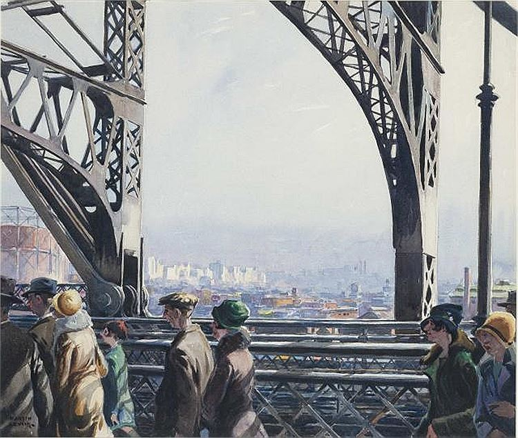 "Martin Lewis,  On The Bridge , watercolor on paper, 17.75"" x 20.75"", signed and undated Sold for $13,750 at Doyle New York (Estimate: $10,000 - $20,000)  Sale date: May 1, 2018, Lot #133"