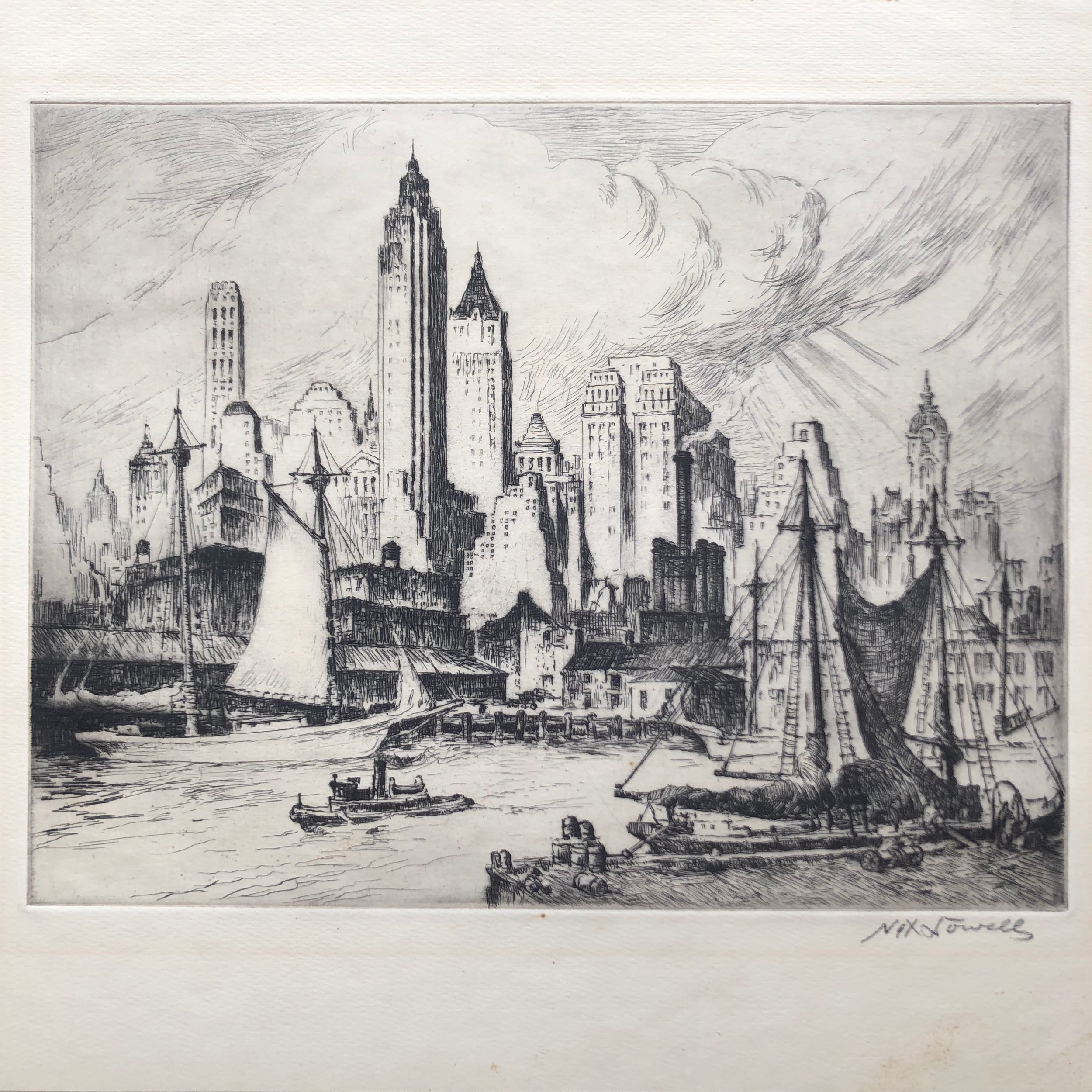 Nat Lowell,  Lower East Side , etching, 1930's