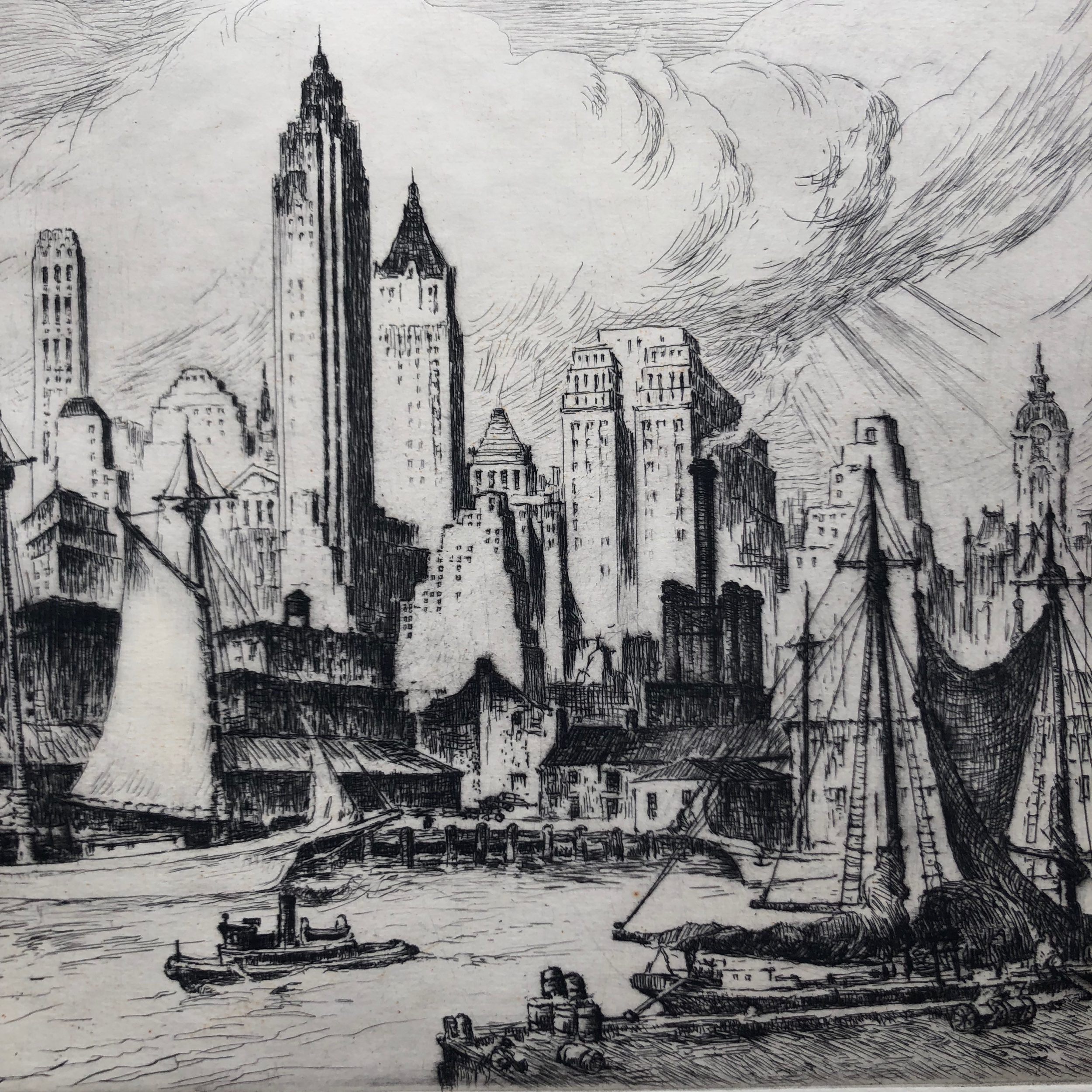 Nat Lowell,  Lower East Side , etching, 1930's (detail)