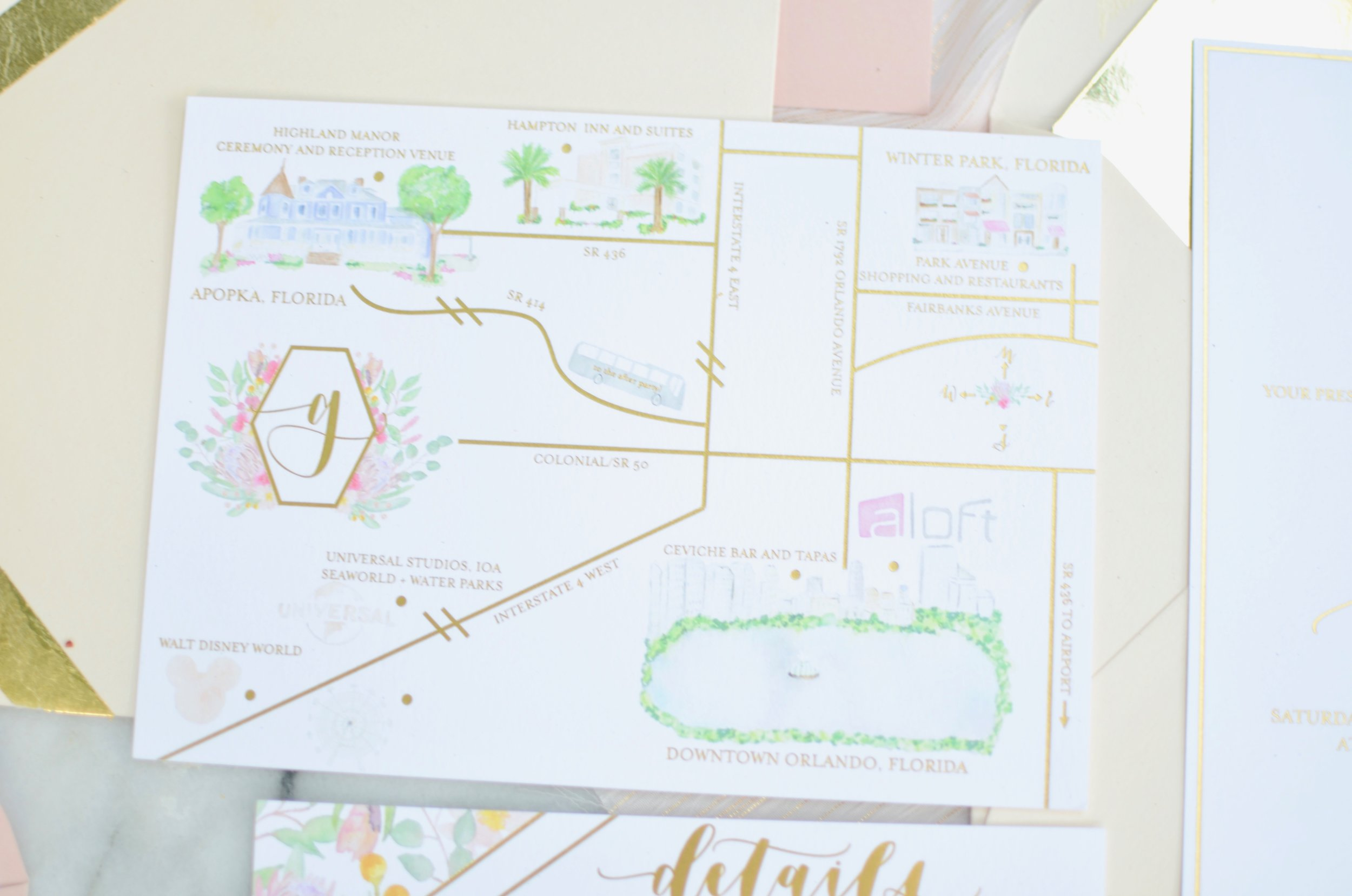 do tell stationery and designs custom watercolor maps