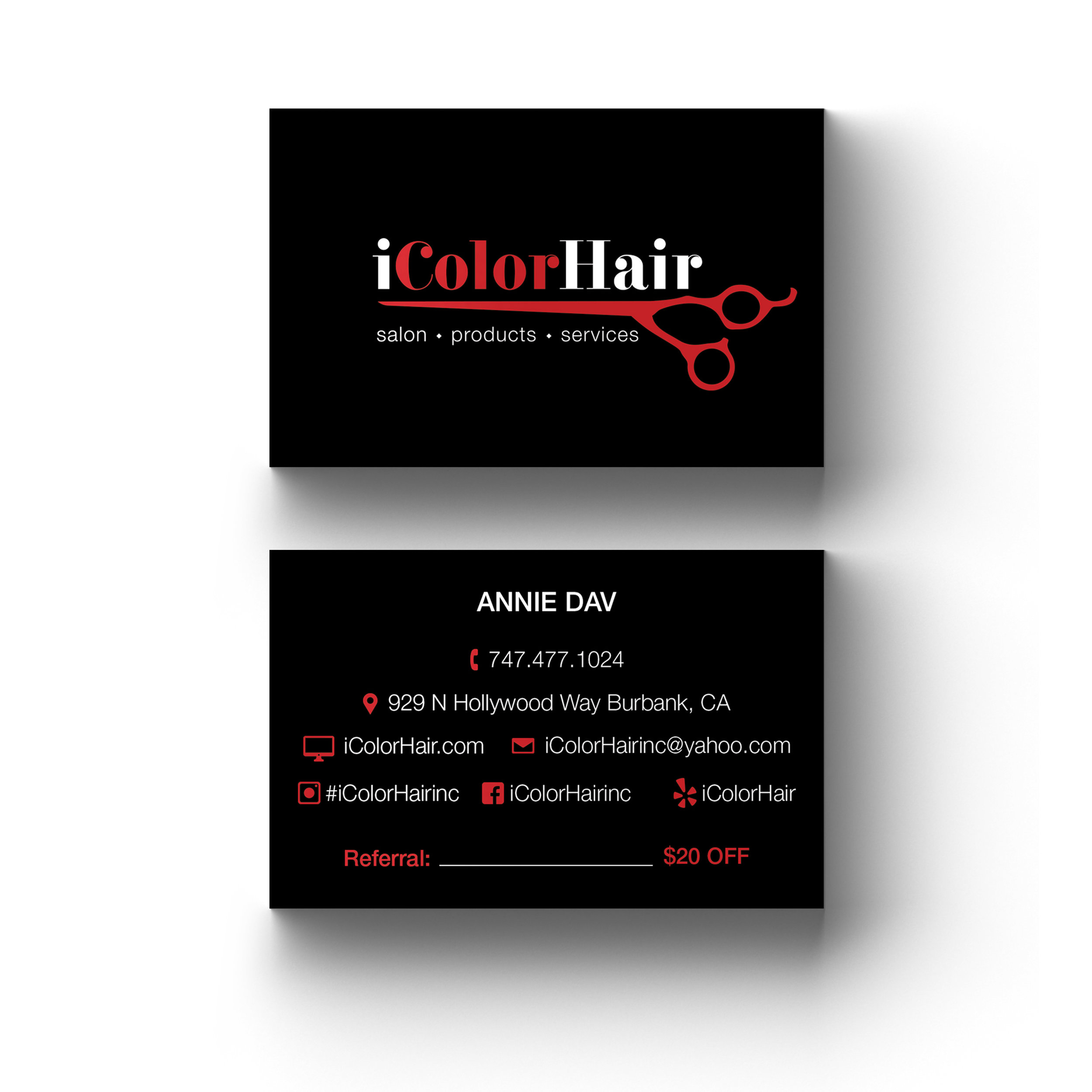 iColorHair Business Cards