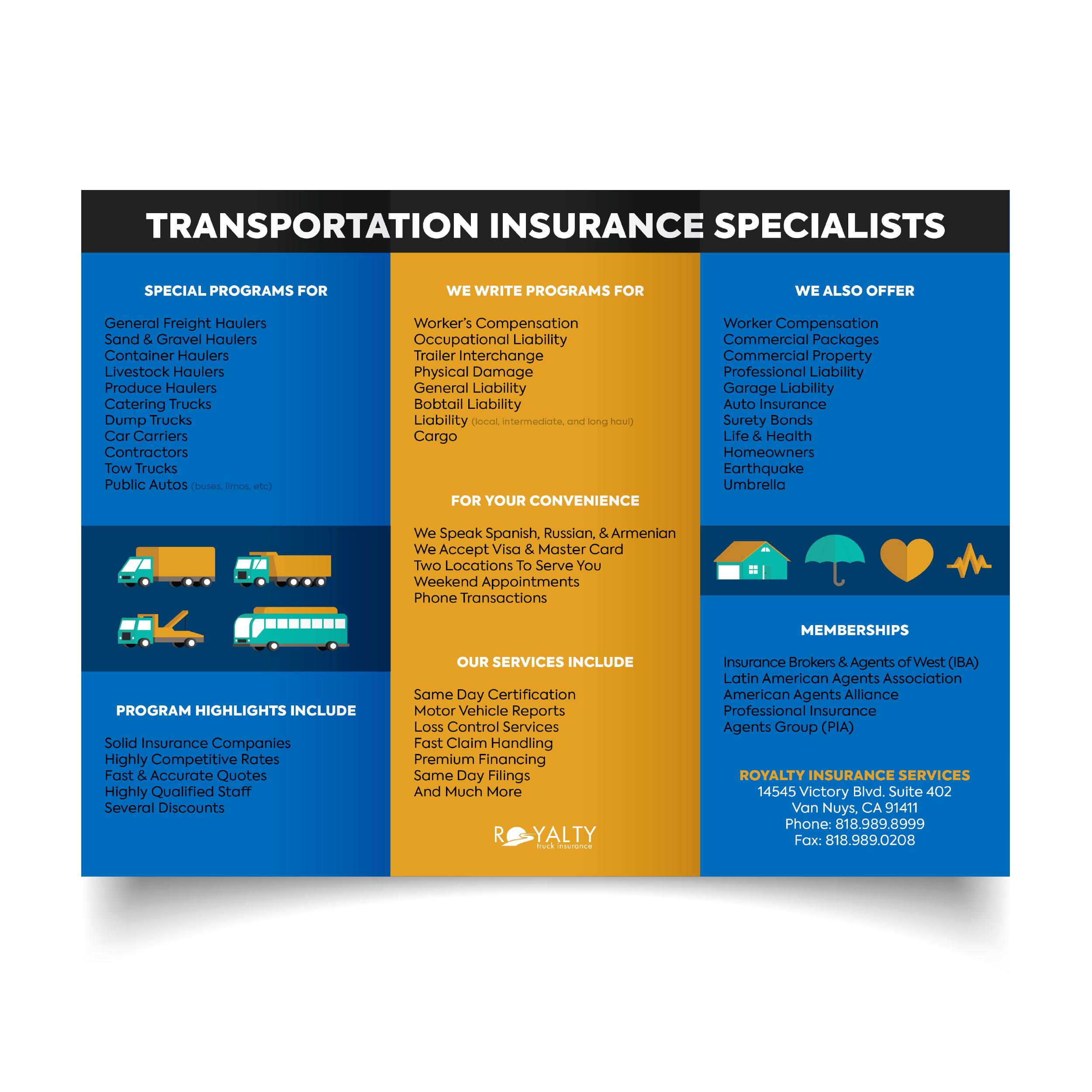 Royalty Insurance Pamphlet (Inside)
