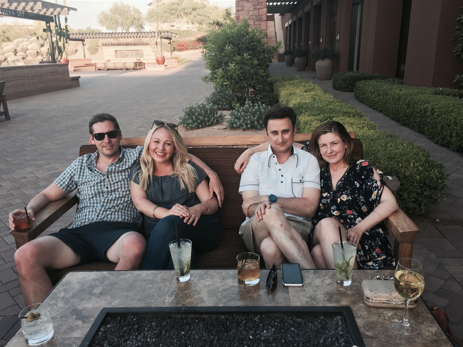 "My brother, his now-wife, my husband and me: day four of our honeymoon; day three of our ""family-moon"" (we spent five days of our two-week Southwest trip with my family in Scottsdale, Arizona)"