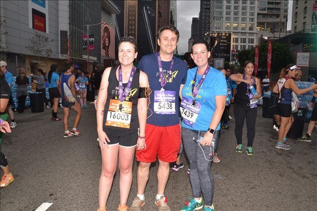 Kelly with  Steven  and me after crossing the finish line of the  Rock 'n' Roll Los Angeles 5K  in October 2016