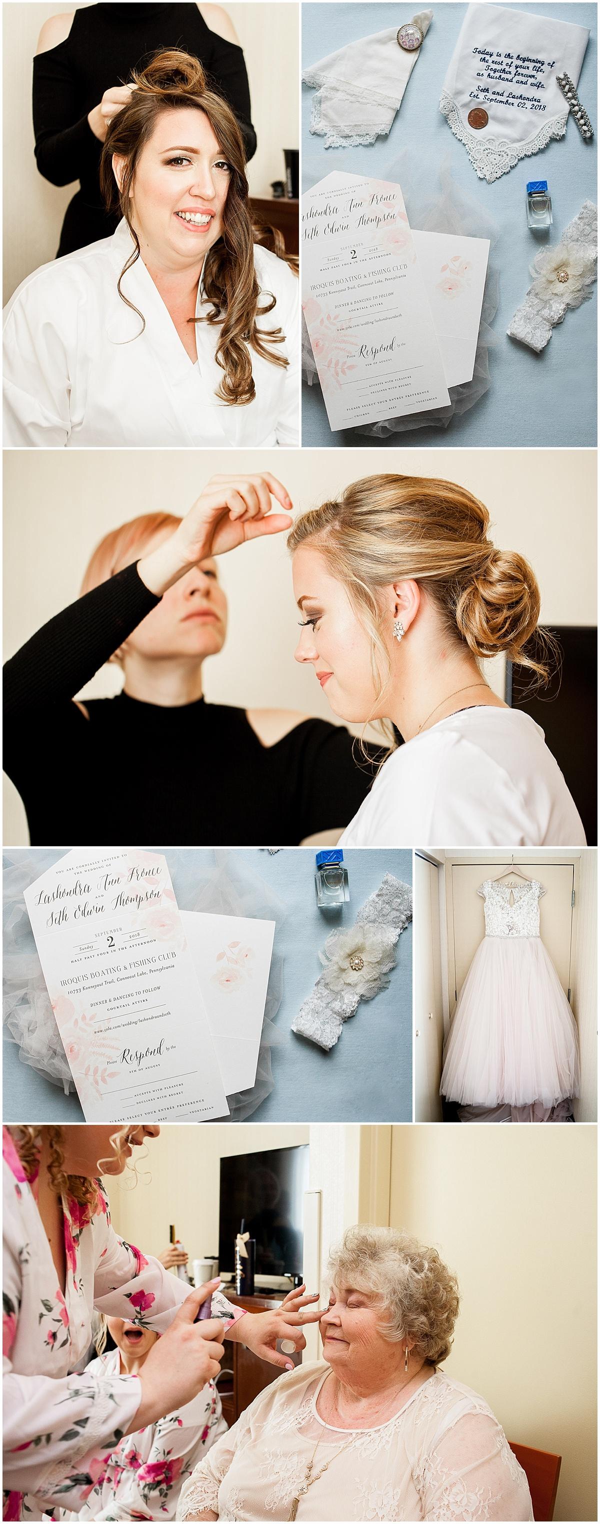bride getting ready erie pa wedding