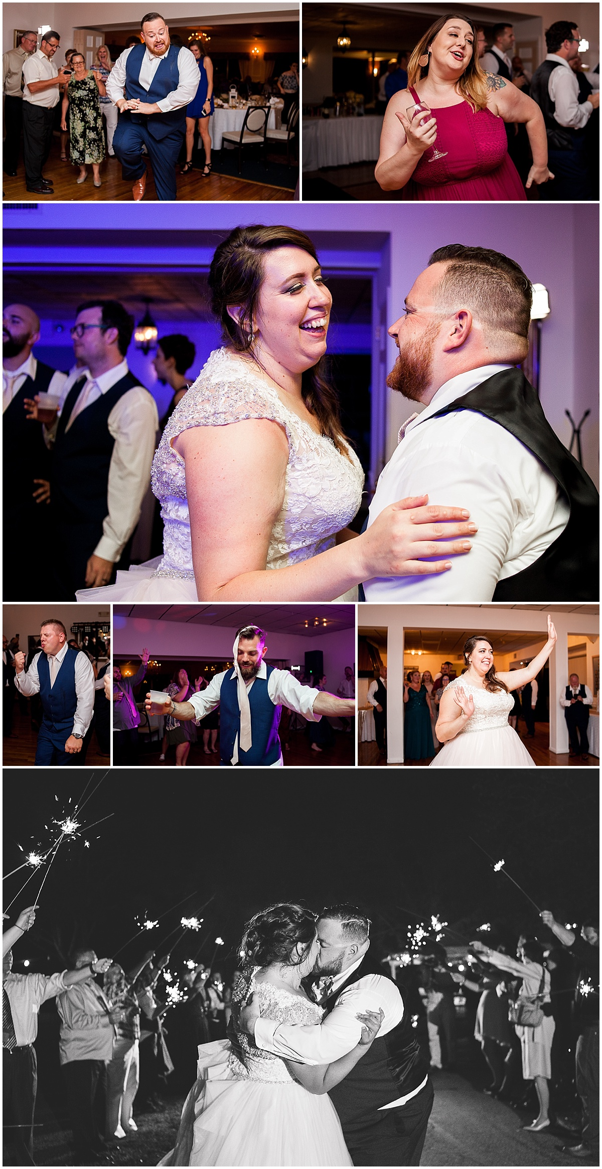 bride and groom sparkler exit erie pa wedding photographer