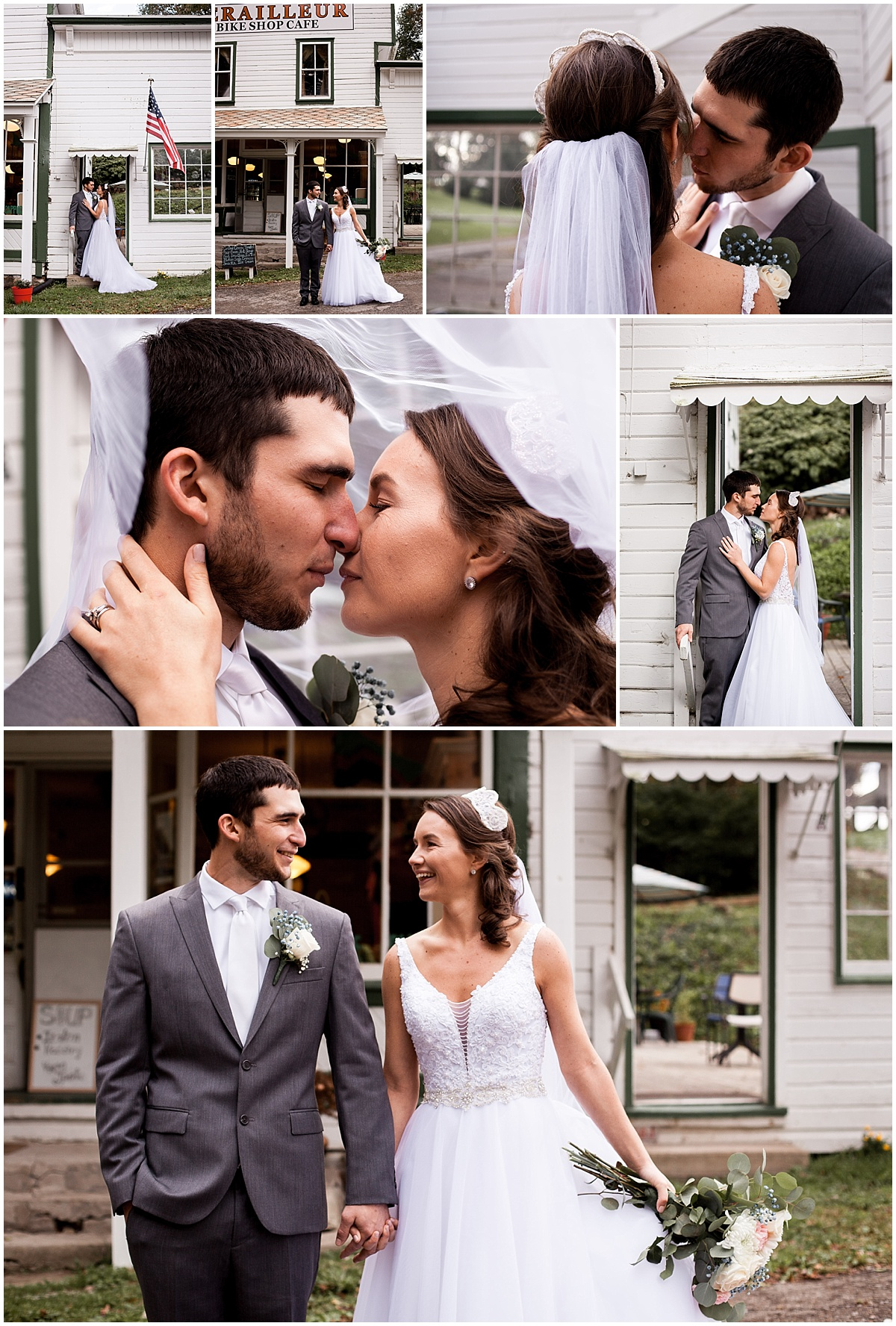 bride and groom portraits at derailur bike cafe herman pa photographer