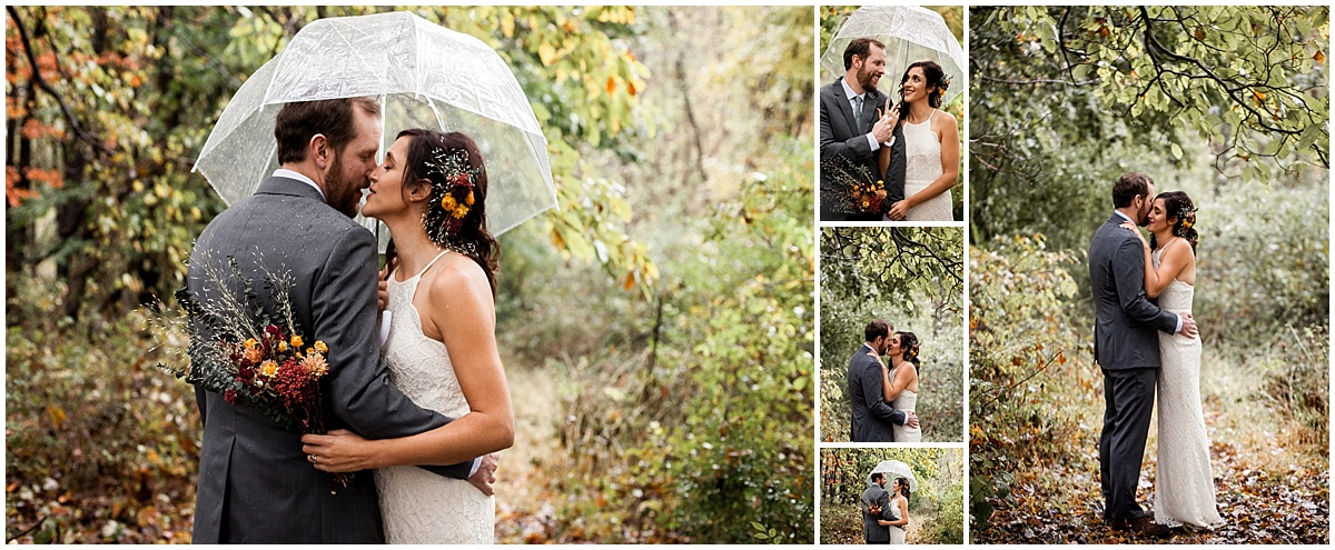 rainy bride and groom vegan wedding in sewickley pa