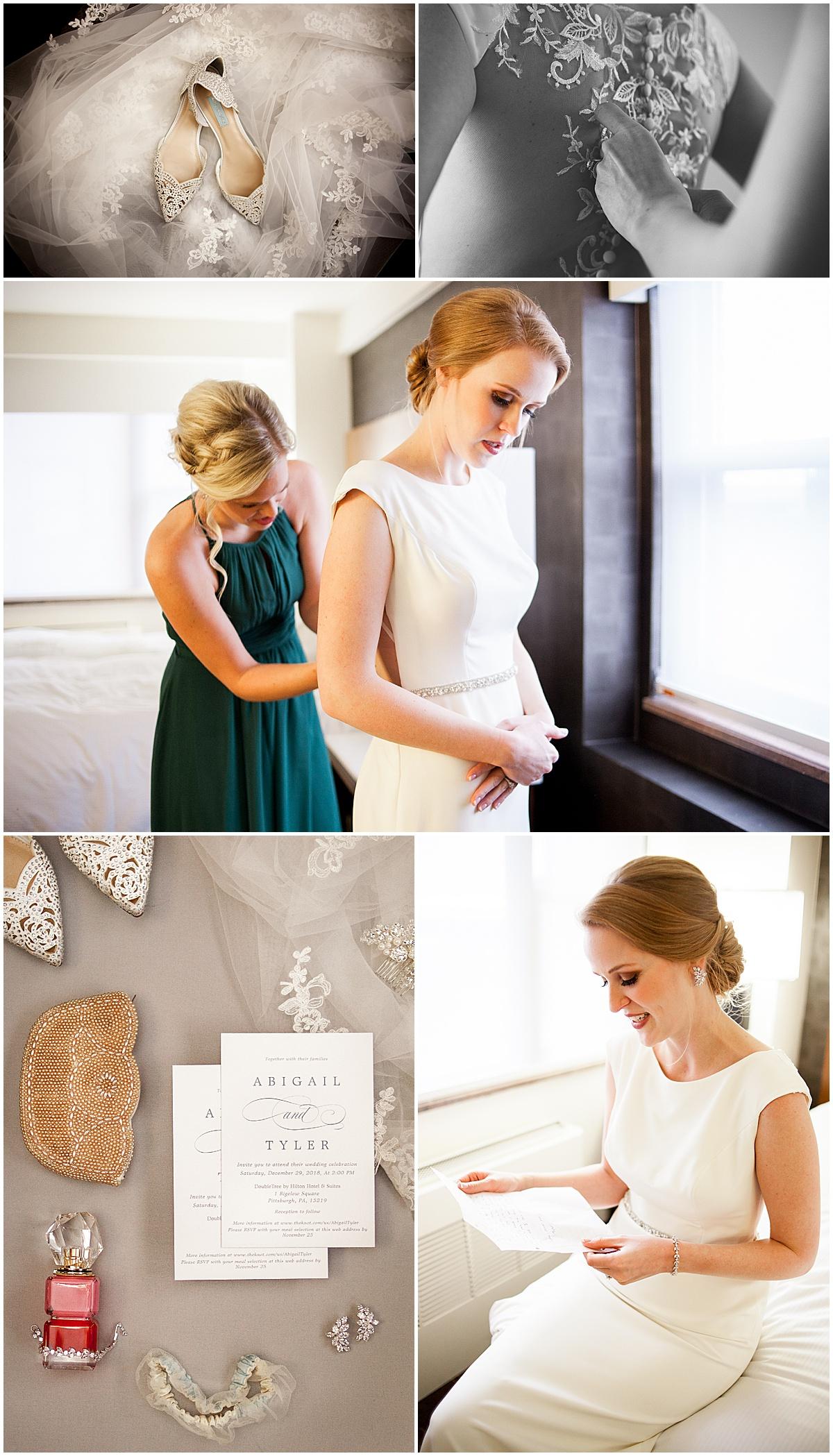 bride putting on wedding dress pittsburgh pa