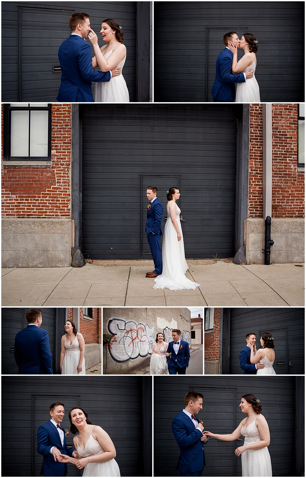 bride and groom first look in strip district pittsburgh pa
