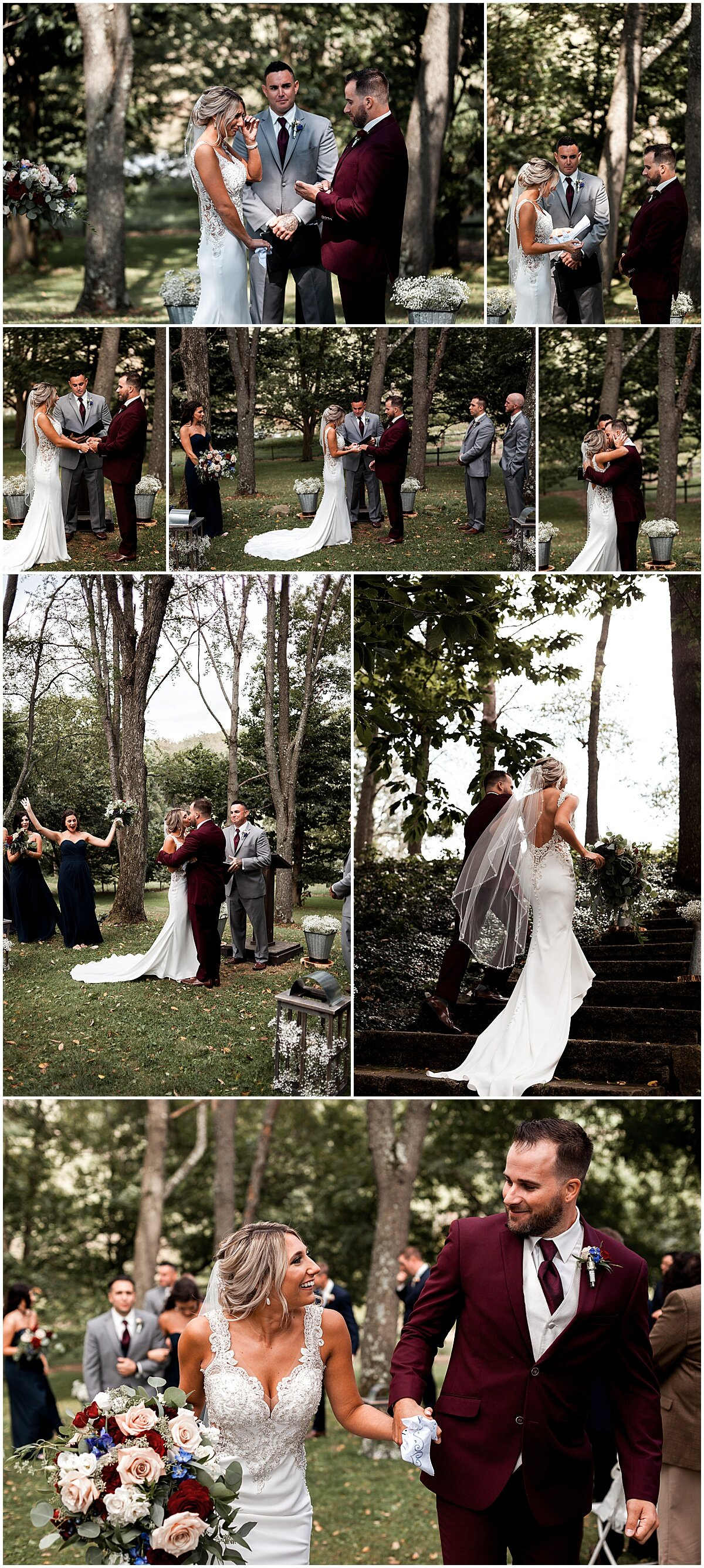 end of wedding ceremony greendance winery mount pleasant pa liz capuano photography