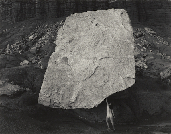 Judy Dater,  Self-portrait Holding Up Rock , 1983