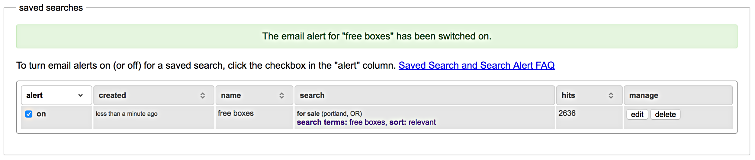 Note: Once you save the search, you will be able to save your preferences.