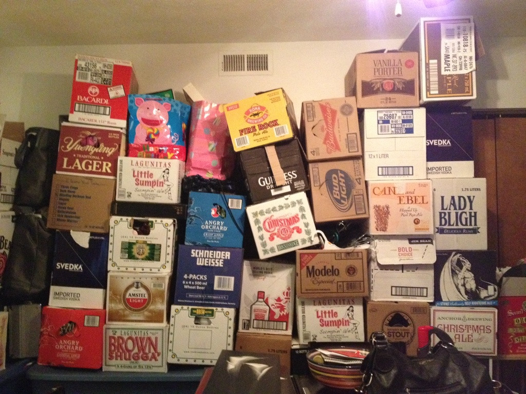 Find all these boxes at Hollywood Beverage. Liquor boxes are great because they are small, and have handles.