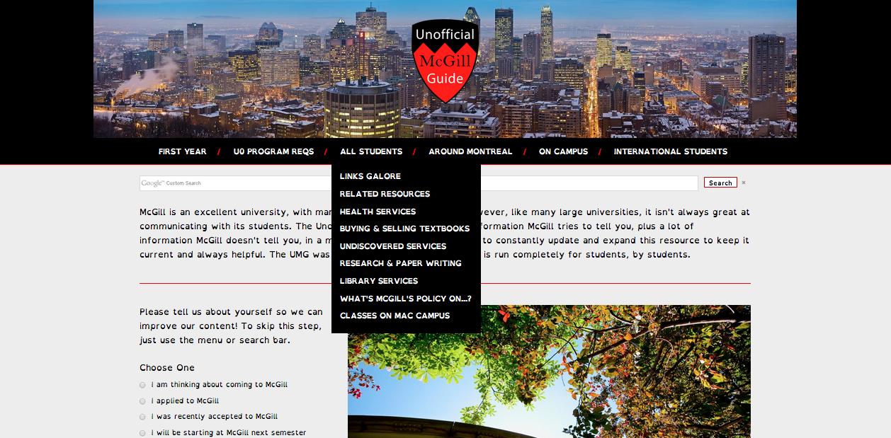 screenshot of the UMG landing page