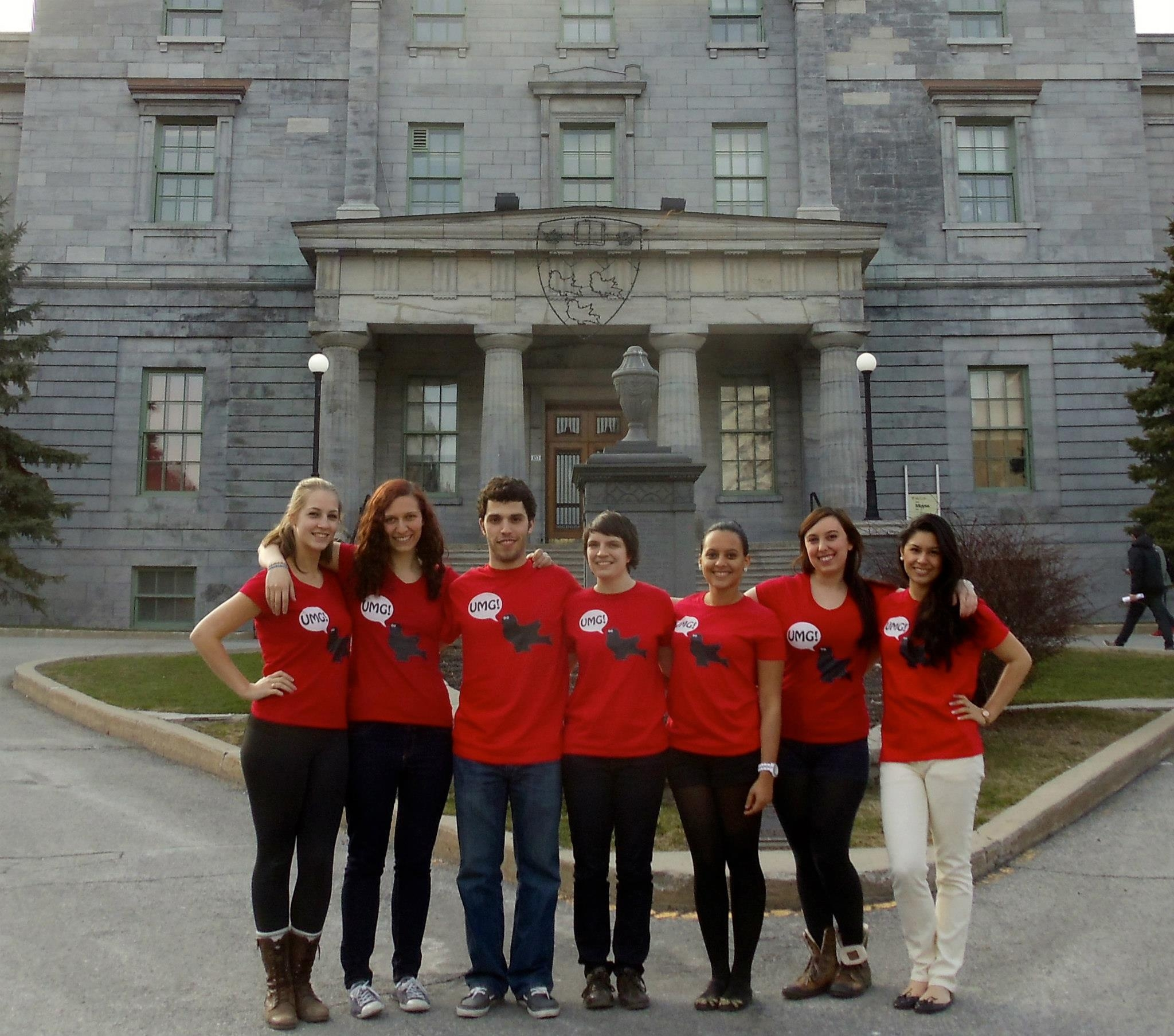 first iteration of the UMG team, 2012. from left: Erin Mitchell, Cara Neel, Max Blumberg, Katie Thompson, Melissa Williams, Becca Sheinbaum, Andrea Dumont.