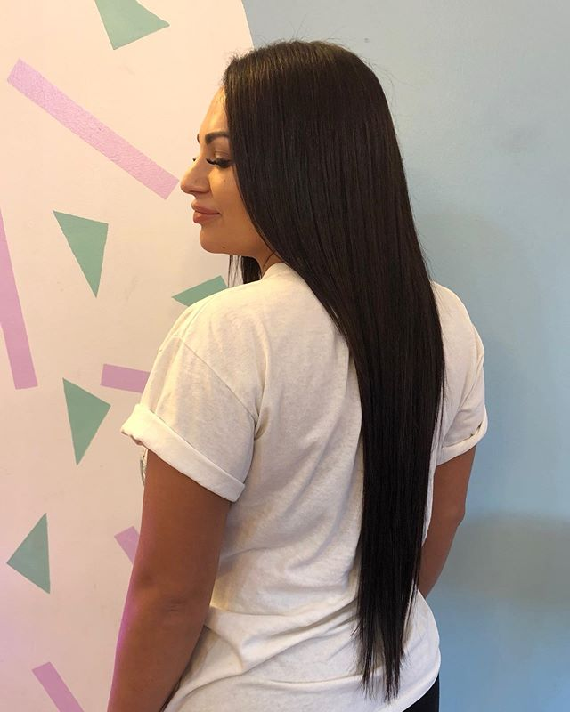 "Luscious locks for my girl @thrillho_xo 💕 tape in extensions 24"" rich chocolate brown colour so shiny and pretty. #tapeinextensions #hairbykathrynjones #sydneyhairdresser #chocolatebrownhair #glebe #sydneyhair #hairextensions"