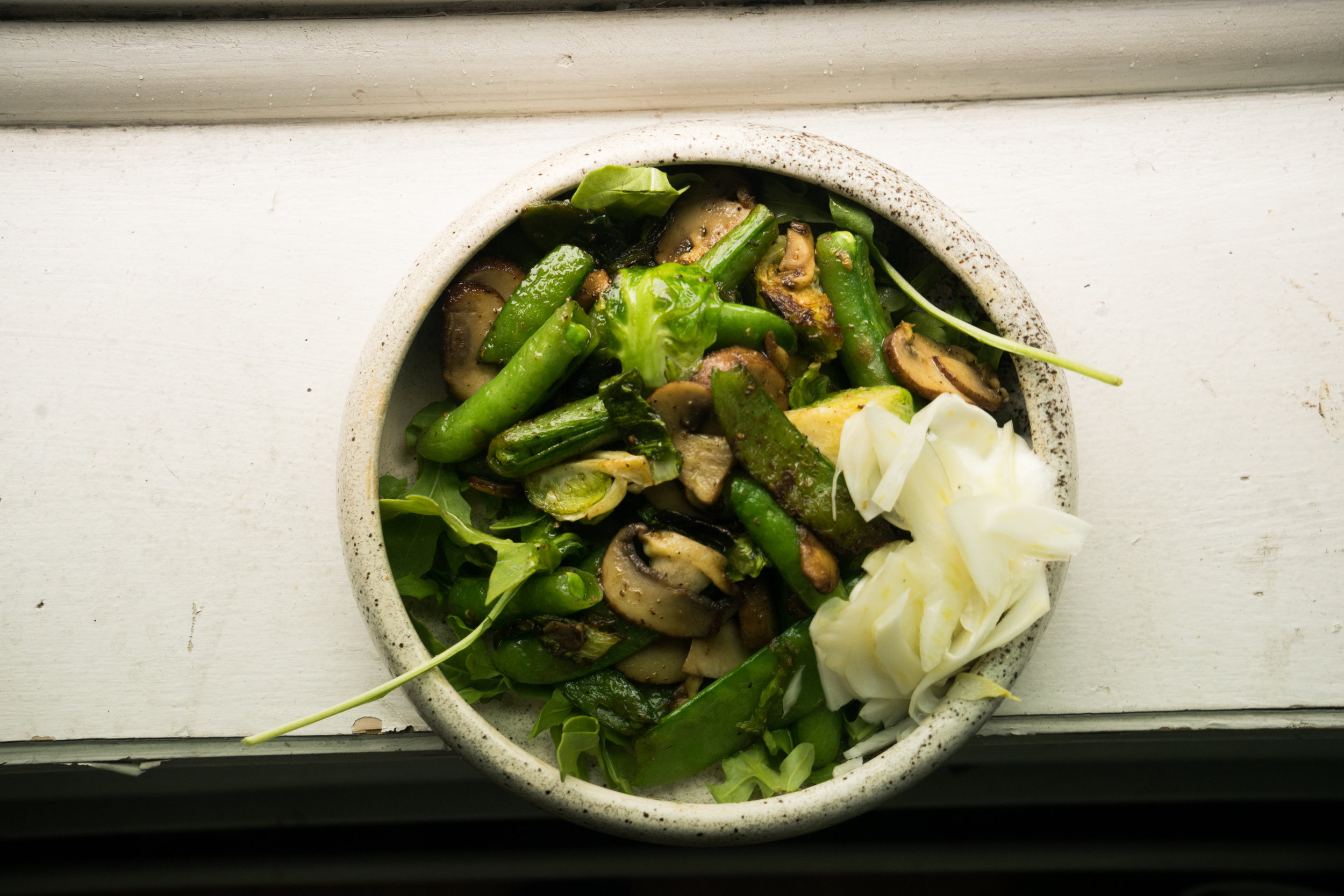 (what's added and you could too = mushrooms, pickled fennel)