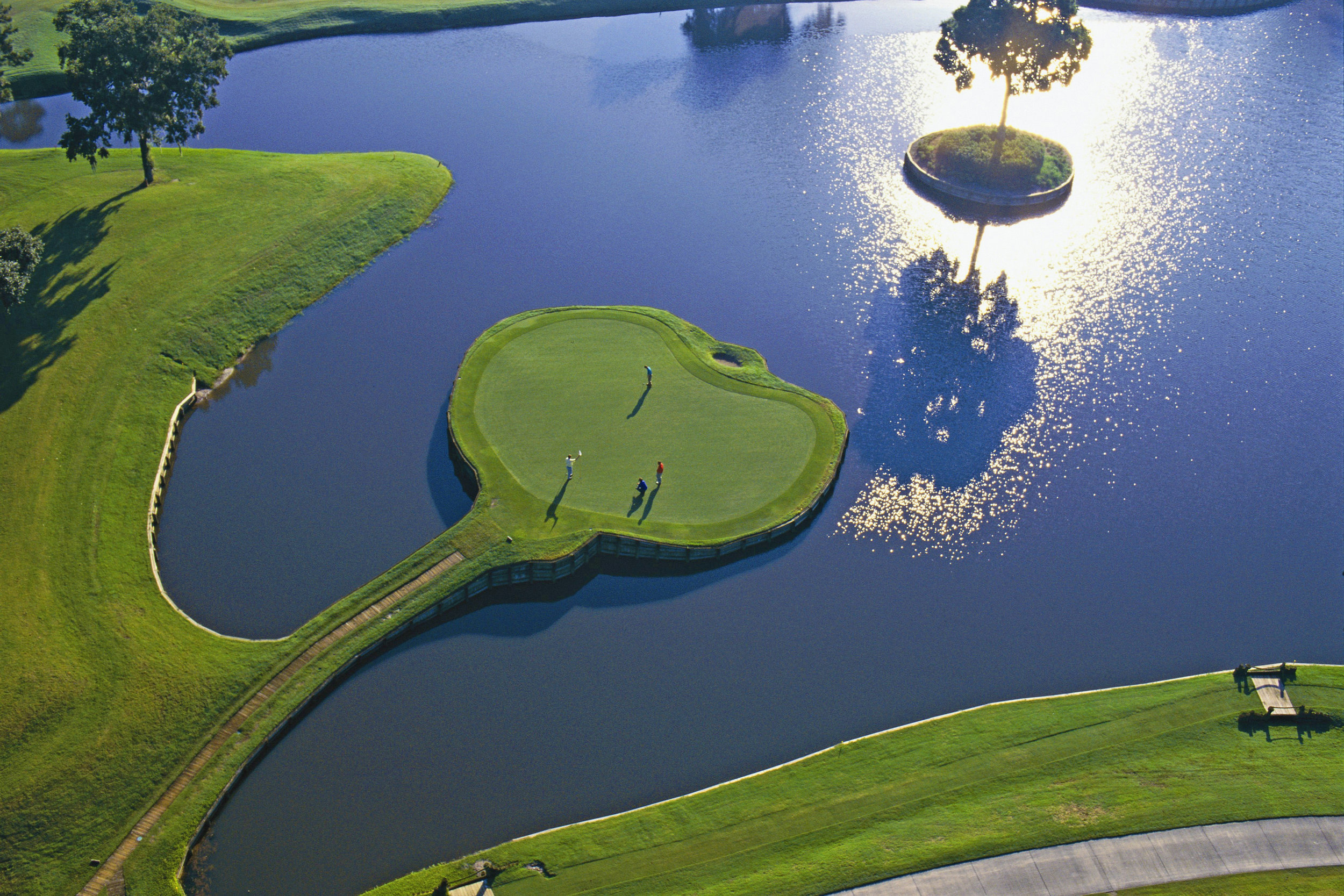 The iconic 17th green at Sawgrass