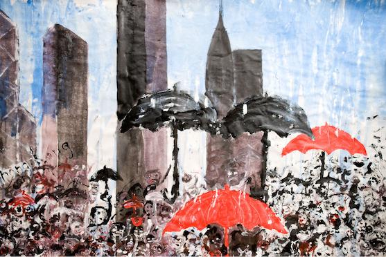 """La nostra opera """"Rivoluzione degli ombrelli"""" - Acrilico su tela 120 x 100"""