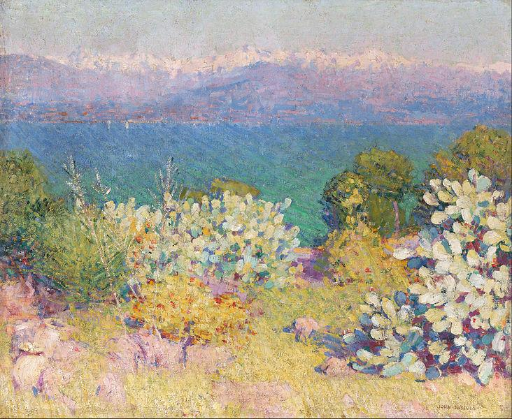 In The Morning, Alpes Maritimes from Antibes  by John Peter Russell