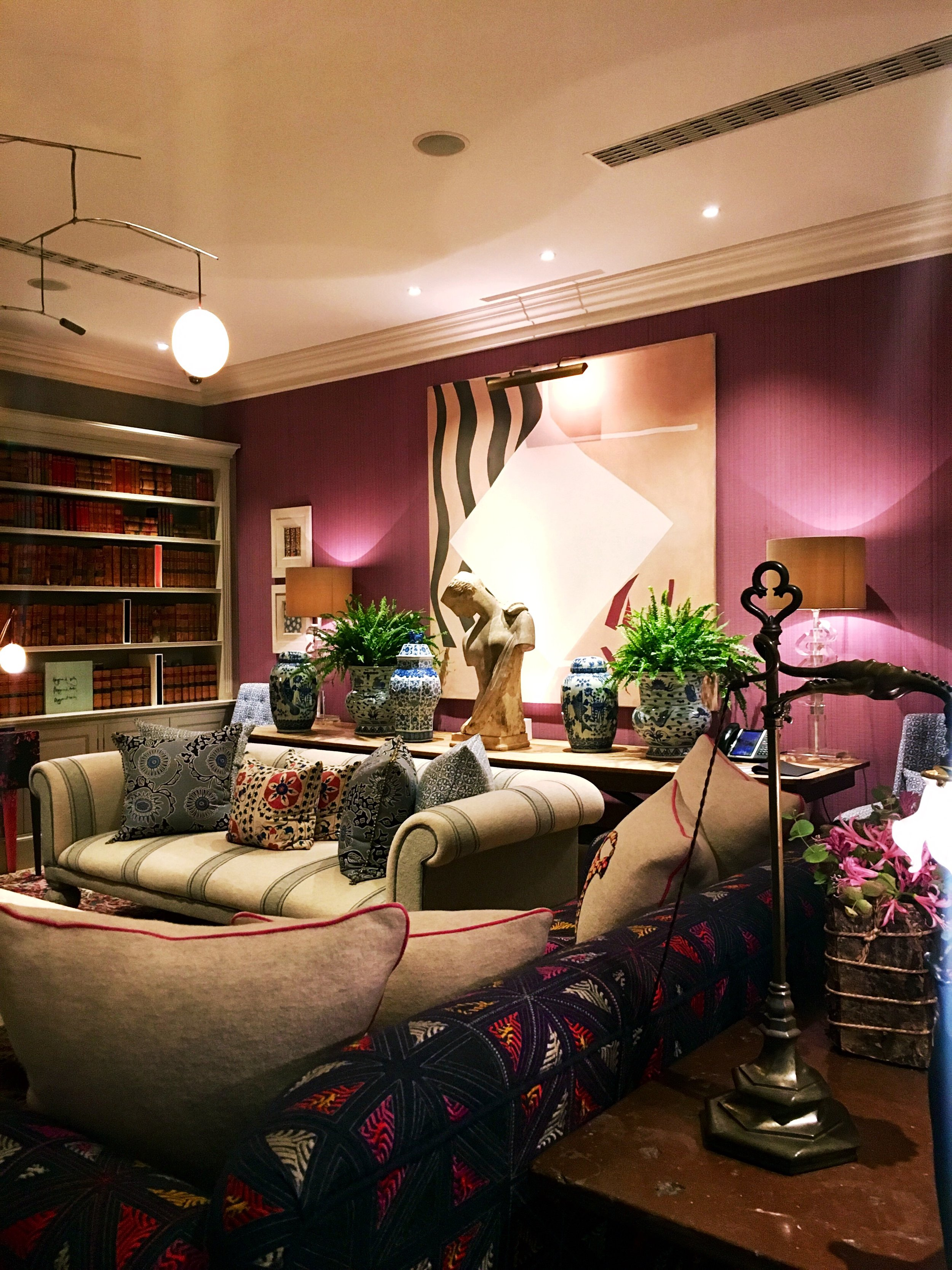 The library at The Haymarket Hotel