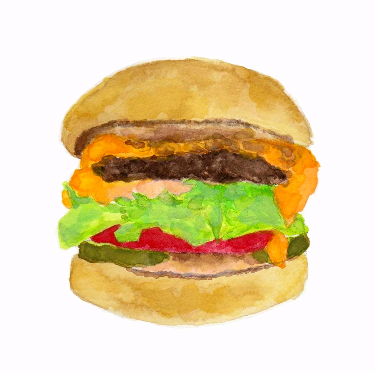 Watercolor painting of my beloved Animal Style In-N-Out Cheeseburger