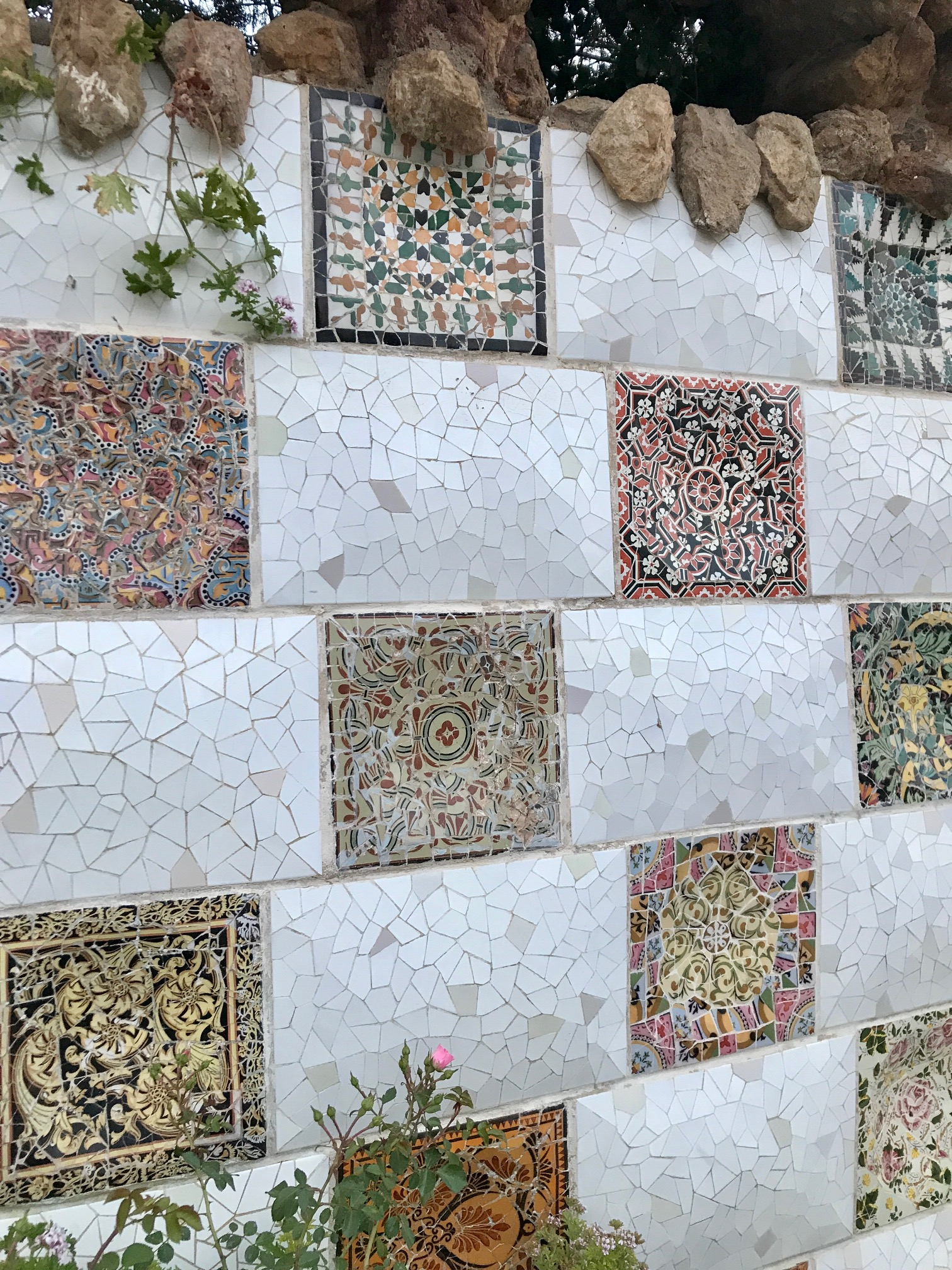 Mosaic tiles at Gaudi's Park   Güell