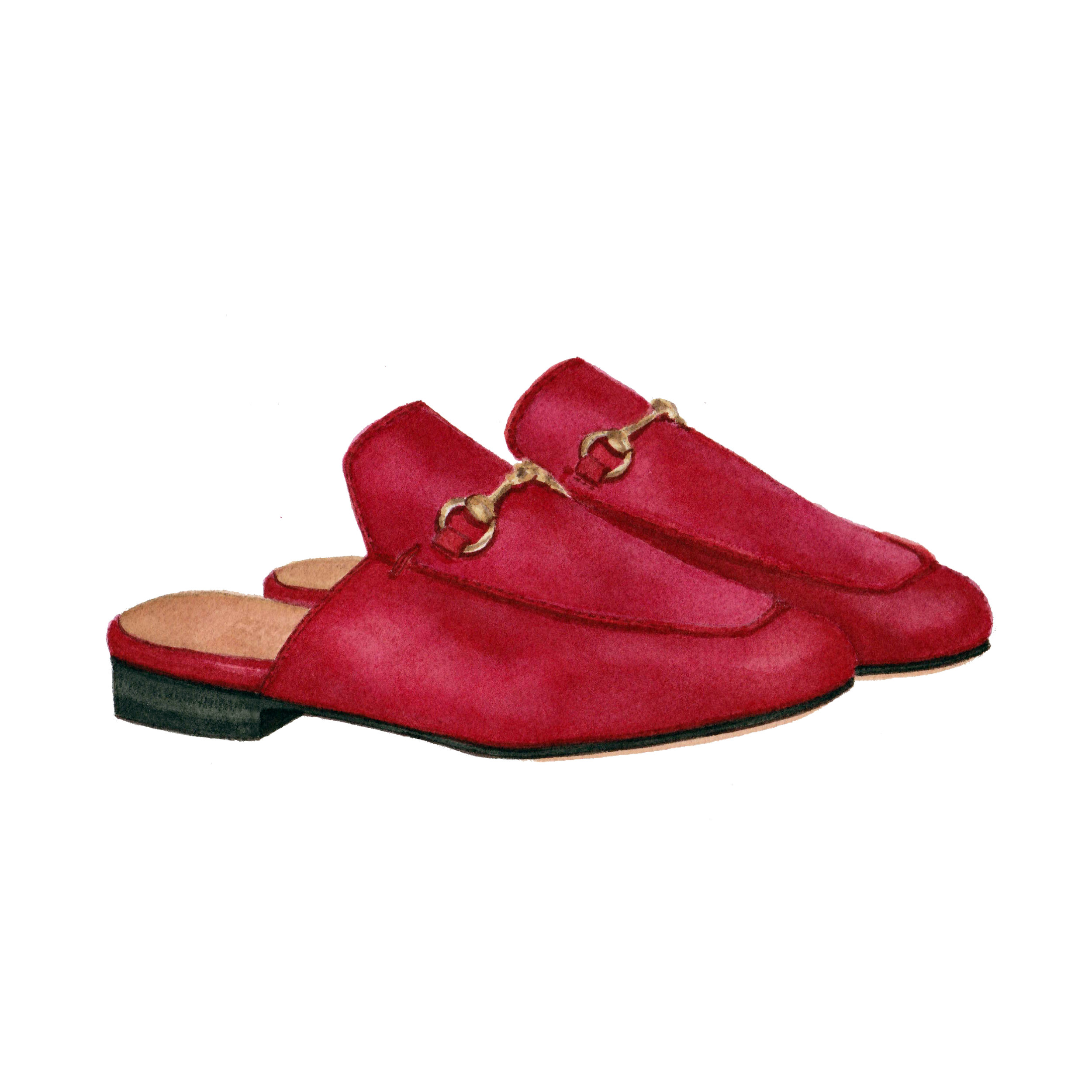Gucci Princetown Slides in Hibiscus Red