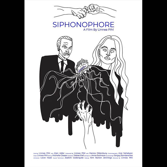 """I'm excited to share that I recently won my first award for Best Editing in a Short Film for """"Siphonophore"""" at the South Film and Arts Academy Festival in Chile! The film also received the award for Best Indie Short! #siphonophore #shortfilm #editor Here's the poster, with concept art by @soz_zine!"""