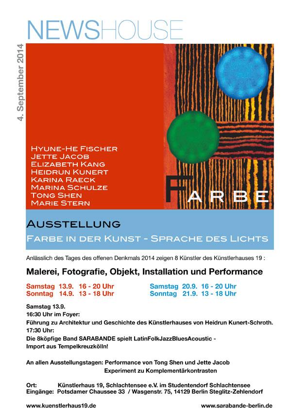 Farbe in der Kunst - Sprache des Lichts - Anlässlich des Denkmaltages 2014 zeigt das Künstlerhaus 19 zum Thema: