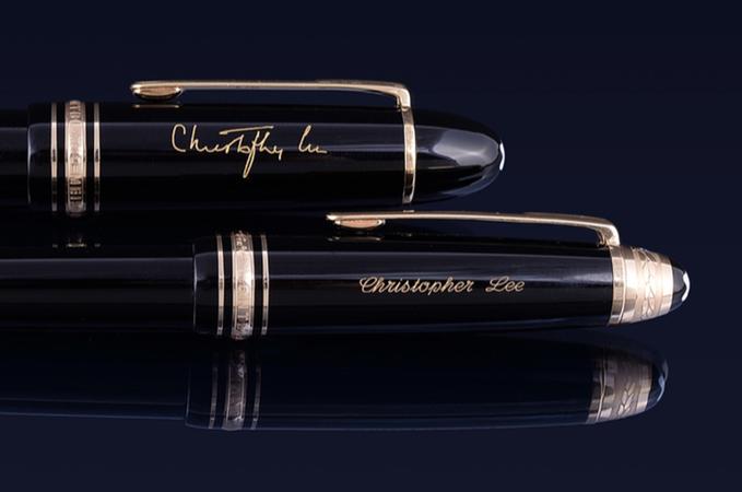 (Lot 483: a   Montblanc, Meisterstuck, 149, Pix, black fountain pen  ,   est. £300-500   and Lot 484: a   Montblanc, Meisterstuck, Pix, ballpoint pen with a black cap and barrel  , est. £150-250.